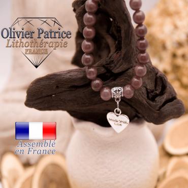 Bracelet quartz vin et son charms coeur en alliage