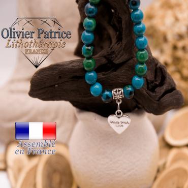 Bracelet chrysocolle et son charms coeur en alliage