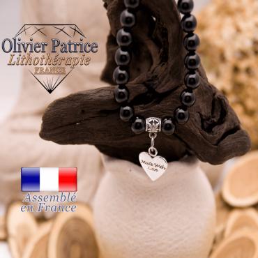 Bracelet obsidienne et son charms coeur en alliage