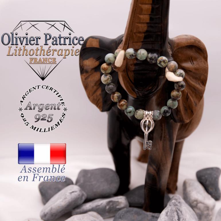 Bracelet turquoise bleue africaine et sa cage clé en argent 925