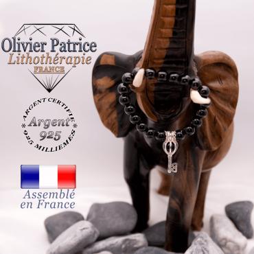 Bracelet obsidienne et sa cage clé en argent 925