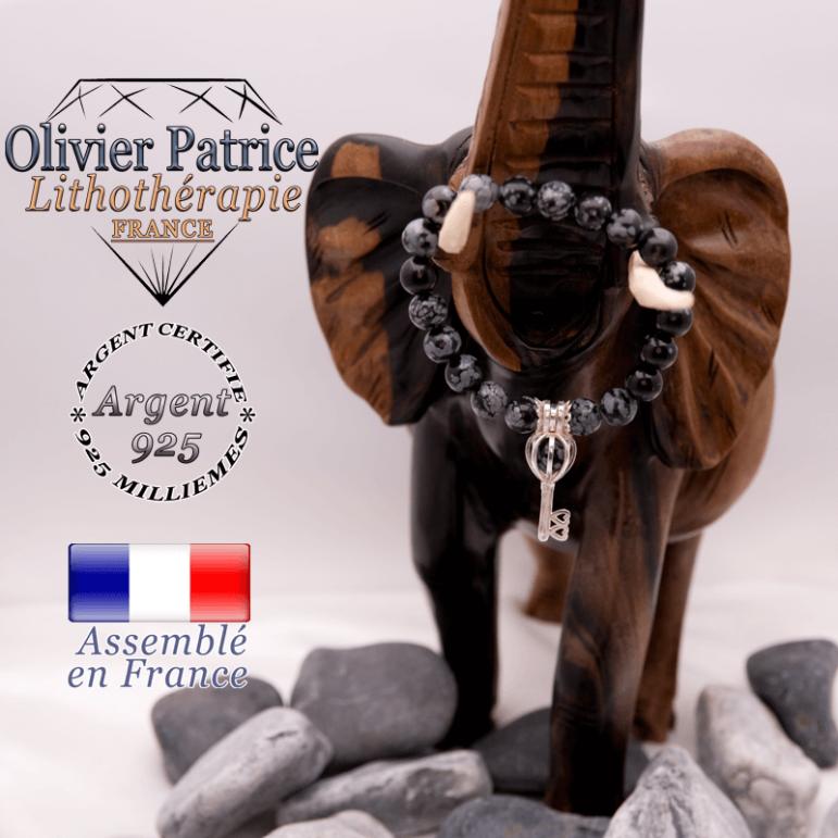 Bracelet obsidienne neige et sa cage clé en argent 925