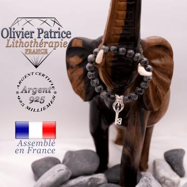 Bracelet larvikite et sa cage clé en argent 925