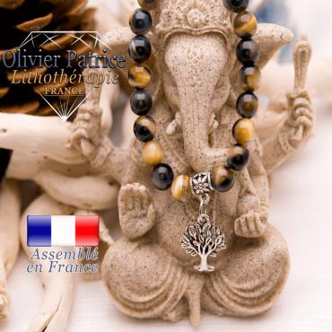 Bracelet  Œil de faucon et son charms arbre de vie en alliage