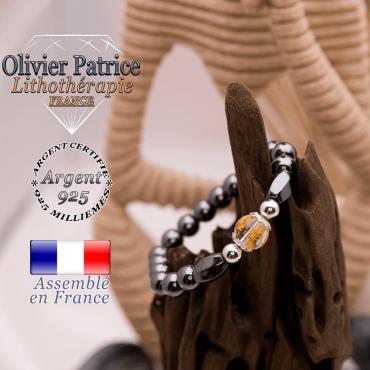 Bracelet hématite et cristal de roche OM MANI