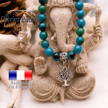 Bracelet chrysocolle et son charms arbre de vie en alliage