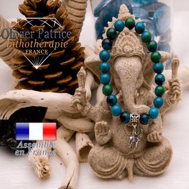 Bracelet chrysocolle et son charms éléphant en alliage