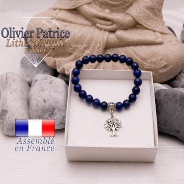 Bracelet lapis lazuli et son charms arbre de vie en alliage