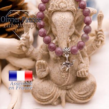 Bracelet lépidolite et son charms éléphant en alliage