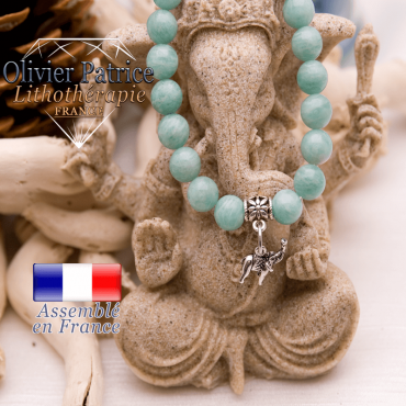 Bracelet amazonite du Kenya et son charms éléphant en alliage