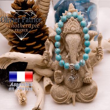 Bracelet turquoise et son charms éléphant en alliage
