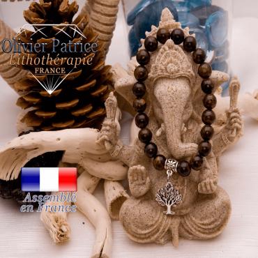Bracelet bronzite et son charms arbre de vie en alliage