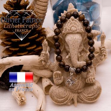 Bracelet bronzite et son charms éléphant en alliage