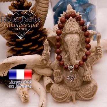 Bracelet jaspe rouge et son charms éléphant en alliage