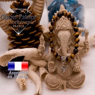Bracelet Œil de Tigre et son charms éléphant en alliage