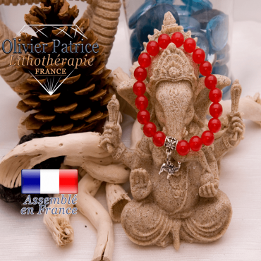 Bracelet agate rouge et son charms elephant en alliage