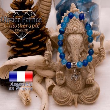 Bracelet agate à bandes bleues avec charms éléphant alliage