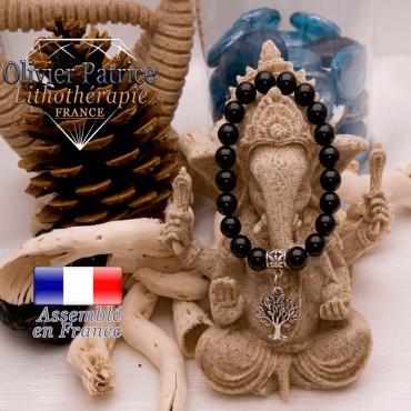 Bracelet obsidienne et son charms arbre de vie en alliage