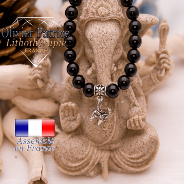 Bracelet obsidienne finition charms éléphant en alliage