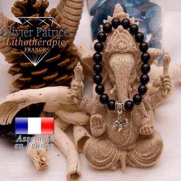 Bracelet obsidienne et son charms éléphant en alliage