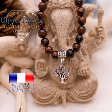 Bracelet œil de taureau charms arbre de vie en alliage