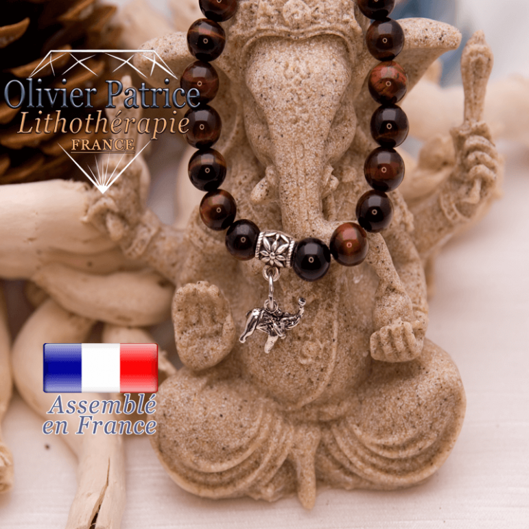 Bracelet œil de taureau charms elephant en alliage