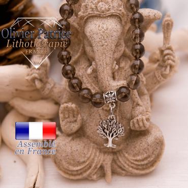 Bracelet quartz fumé et son charms arbre de vie en alliage
