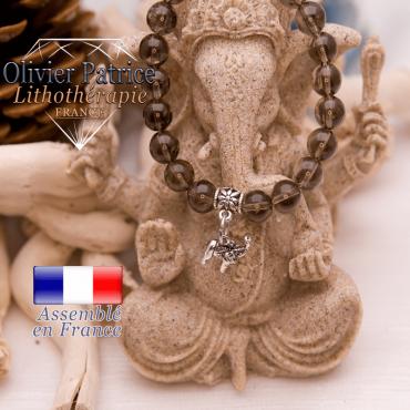 Bracelet quartz fumé et son charms elephant en alliage