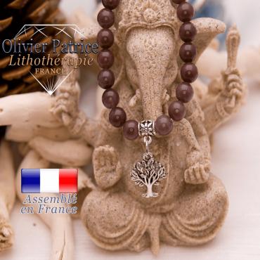 Bracelet quartz vin et son charms arbre de vie en alliage