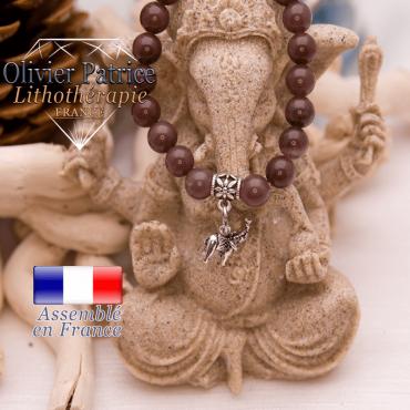 Bracelet quartz vin et son charms éléphant en alliage