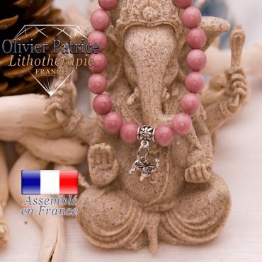 Bracelet rhodochrosite et son charms éléphant en alliage