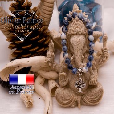 Bracelet sodalite et son charms arbre de vie en alliage
