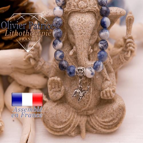 Bracelet sodalite et son charms elephant en alliage