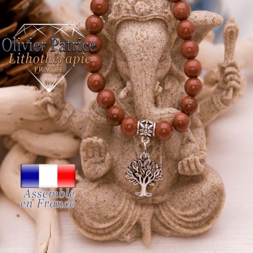 Bracelet goldstone et son charms arbre de vie en alliage
