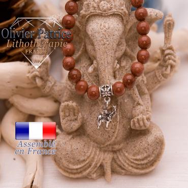 Bracelet goldstone et son charms éléphant en alliage