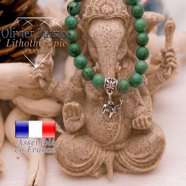 Bracelet turquoise du Tibet et son charms elephant en alliage