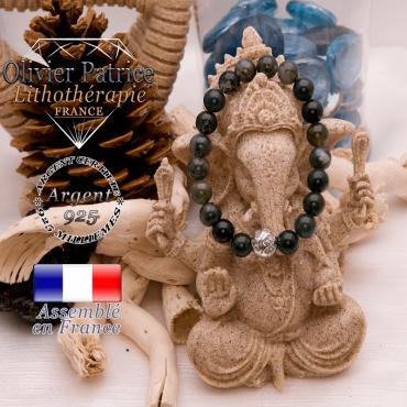 Bracelet agate mousse et boule gravée en argent 925