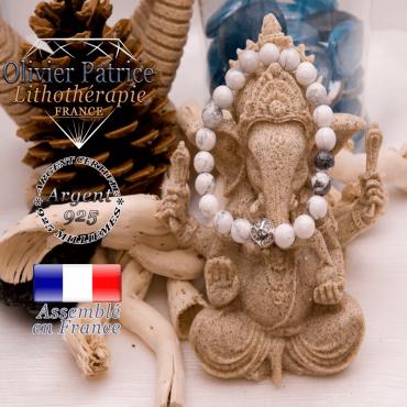 Bracelet howllte et boule gravée en argent 925