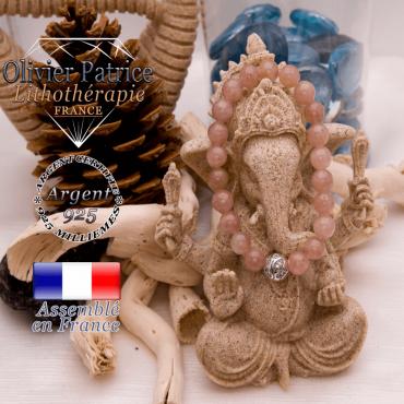 Bracelet quartz fraise et boule gravée en argent 925