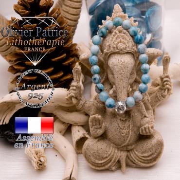 Bracelet hémimorphite et boule gravée en argent 925