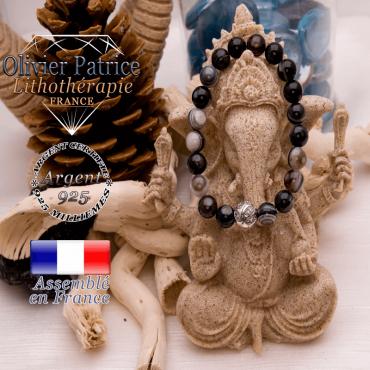 Bracelet sardonyx et boule gravée en argent 925
