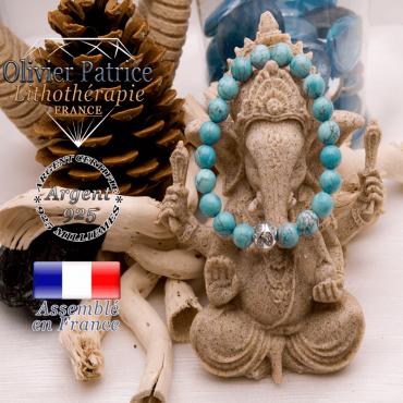 Bracelet turquoise et boule gravée en argent 925