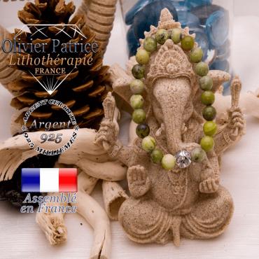 Bracelet turquoise africaine et boule gravée en argent 925