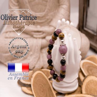 Bracelet protection femme 3 pierres centre lépidolite en argent 925