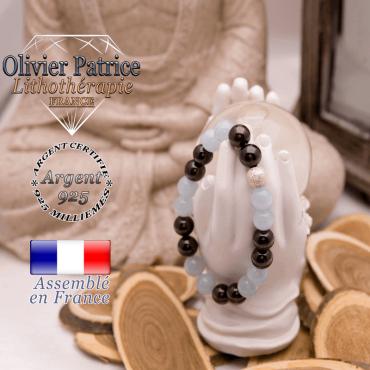 Bracelet opale grenat et boule brillante en argent 925
