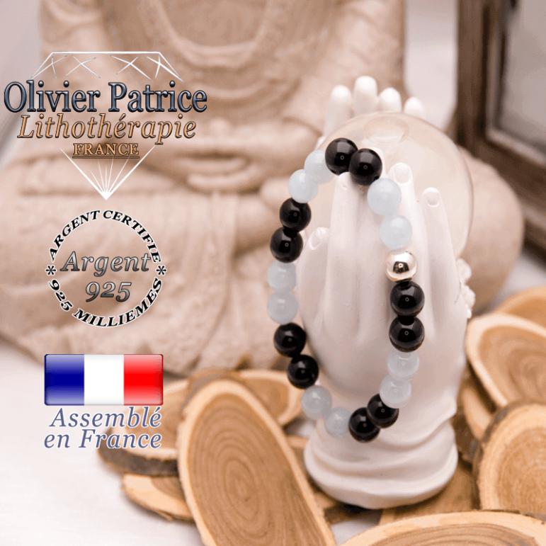 Bracelet opale et onyx avec sa boule en argent 925