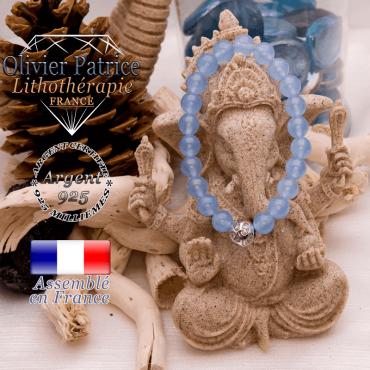 Bracelet agate bleue et boule gravée en argent 925