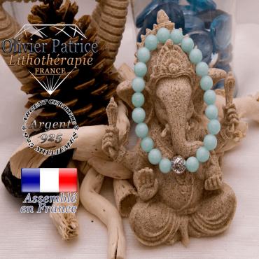 Bracelet jade bleu et boule gravée en argent 925