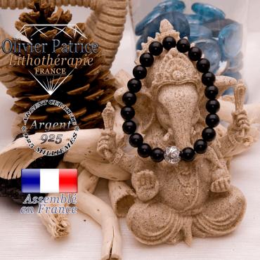 Bracelet obsidienne et boule gravée en argent 925