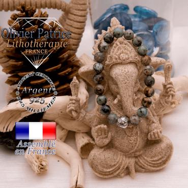 Bracelet turquoise bleue africaine et boule gravée en argent 925